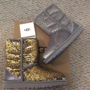 🆕 Authentic UGG silver gold sequin boots- size 8